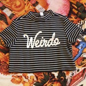 """H&M striped crop top, """"weirdo"""" ❣️"""